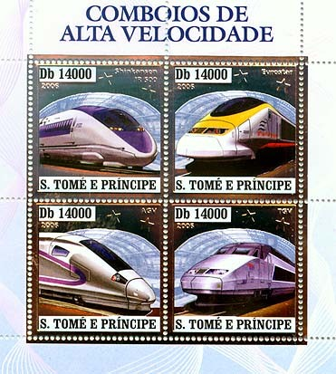 Speed trains (JR 500, Eurostar, AGV, TGV) 4v x 14000 - Issue of Sao Tome and Principe postage stamps