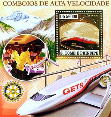 Speed trains (JR 500, Eurostar, AGV, TGV) S/s 56000 - Issue of Sao Tome and Principe postage stamps
