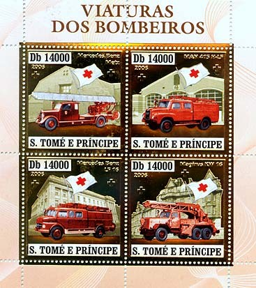 Old fire engines, red cross  4v x 14000 - Issue of Sao Tome and Principe postage stamps