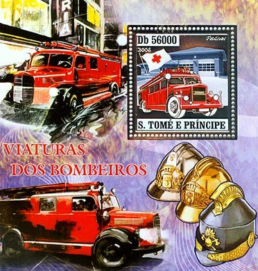 Old fire engines, red cross  S/s 56000 - Issue of Sao Tome and Principe postage stamps