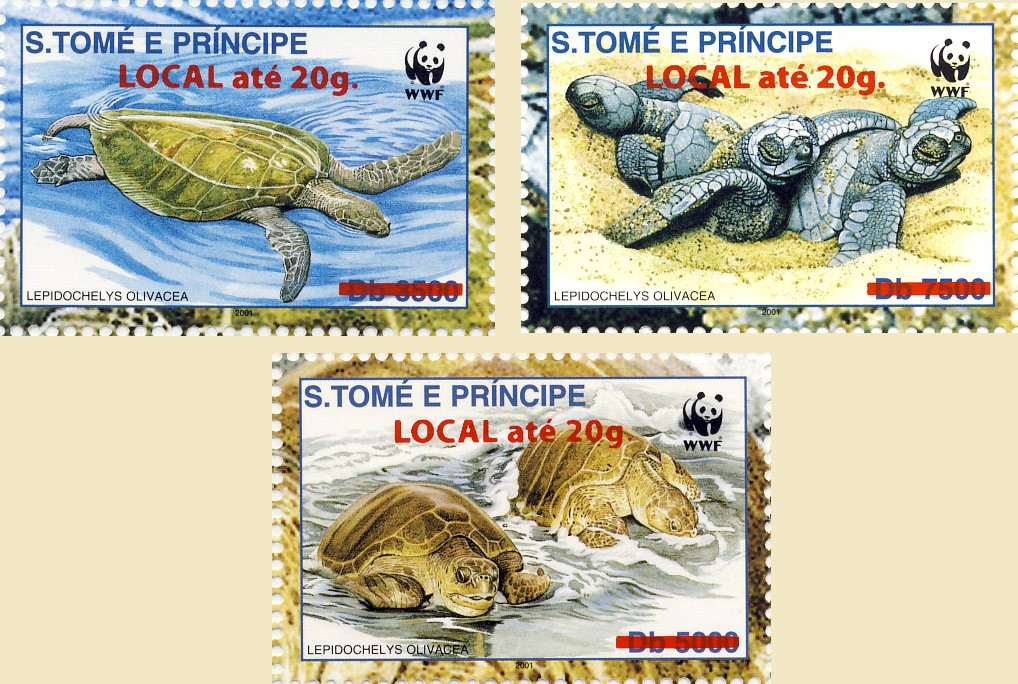Turtles 3v - Issue of Sao Tome and Principe postage stamps