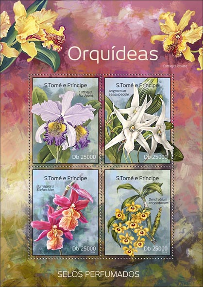 Orchids – Perfumed - Issue of Sao Tome and Principe postage stamps