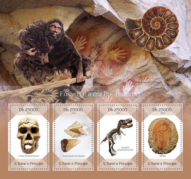 Fossils - Issue of Sao Tome and Principe postage stamps