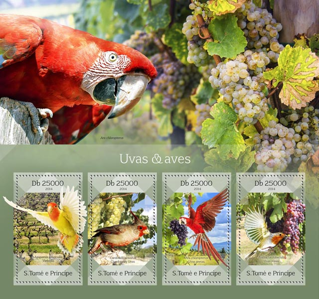 Grapes & birds - Issue of Sao Tome and Principe postage stamps