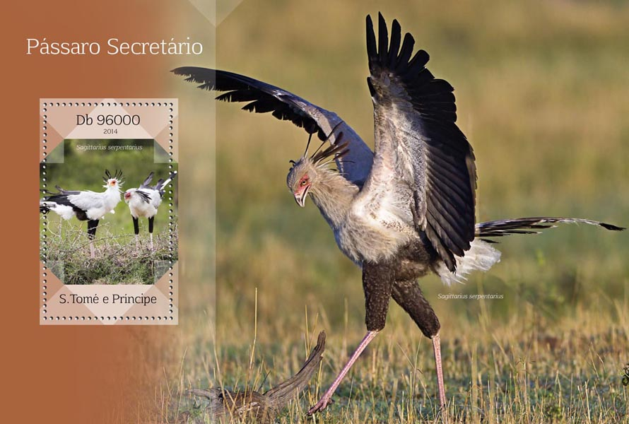 Secretary bird - Issue of Sao Tome and Principe postage stamps
