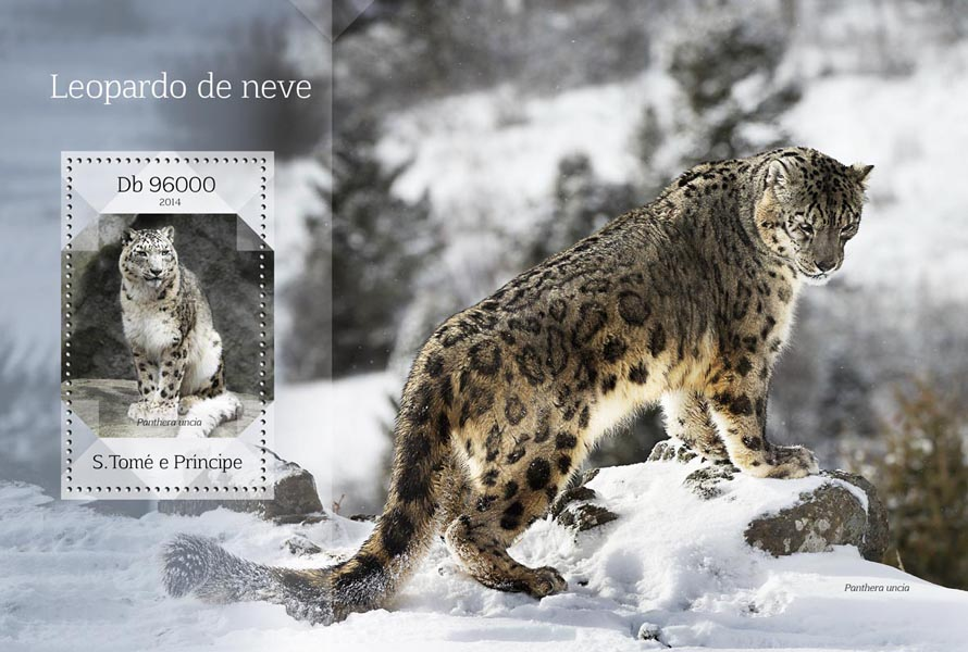 Snow leopard - Issue of Sao Tome and Principe postage stamps