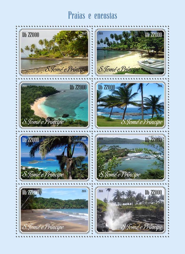 Beaches and slopes - Issue of Sao Tome and Principe postage stamps