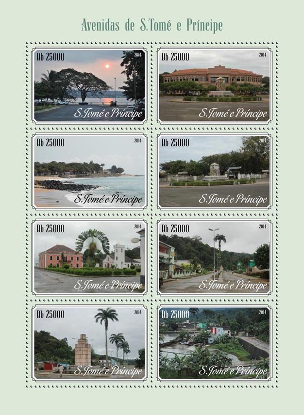 The avenues - Issue of Sao Tome and Principe postage stamps