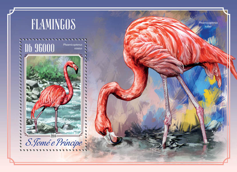 Flamingos - Issue of Sao Tome and Principe postage stamps