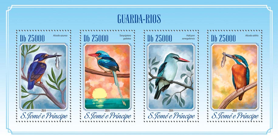 Kingfishers - Issue of Sao Tome and Principe postage stamps