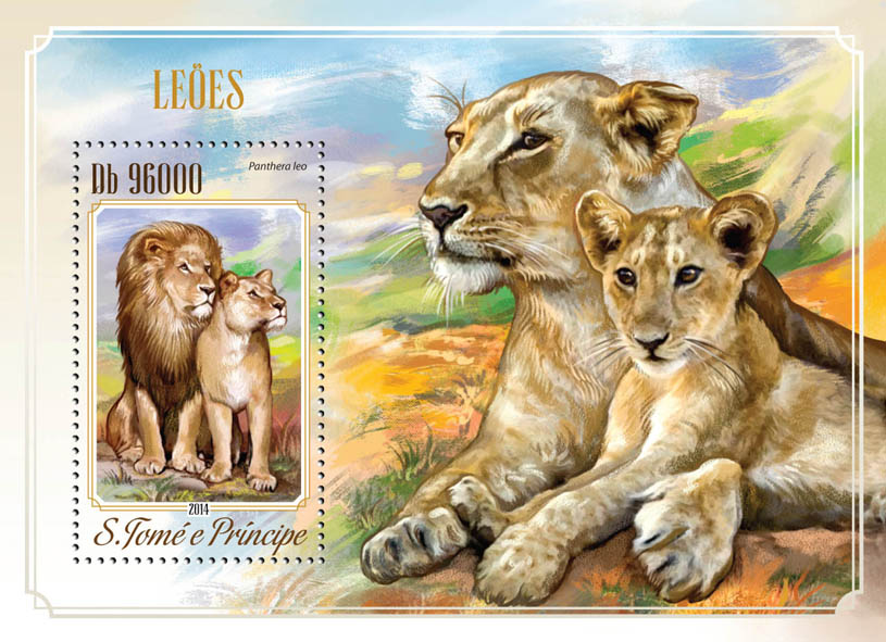 Lions - Issue of Sao Tome and Principe postage stamps
