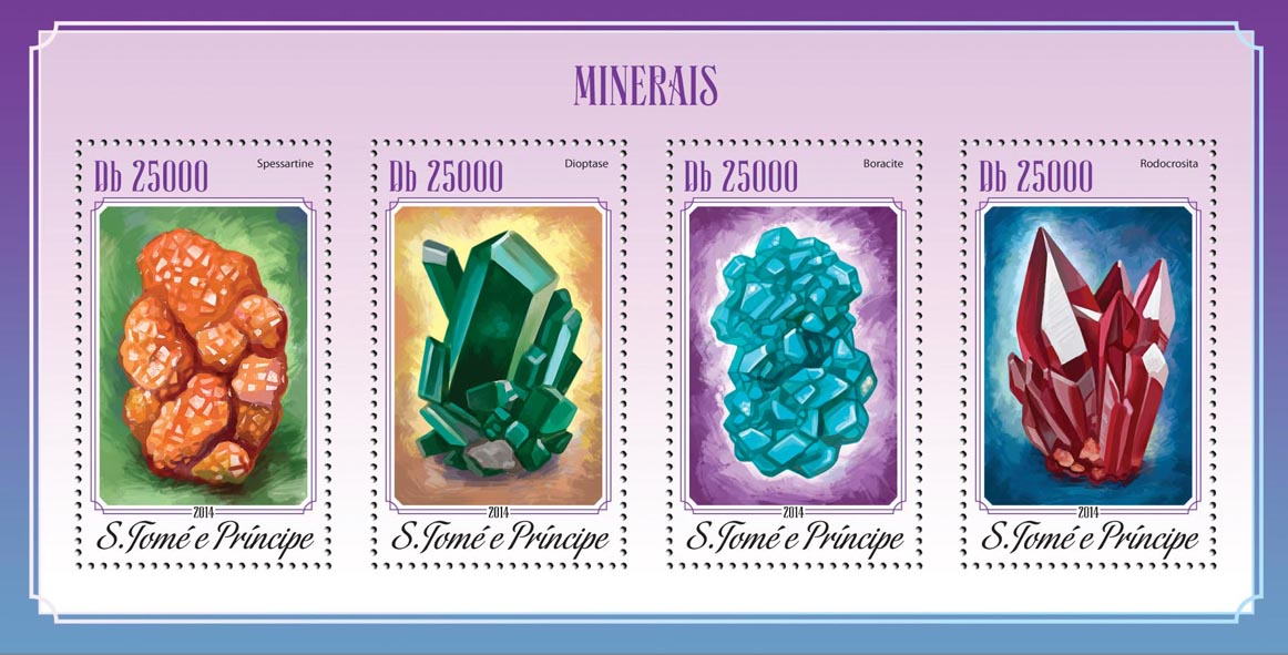 Minerals - Issue of Sao Tome and Principe postage stamps