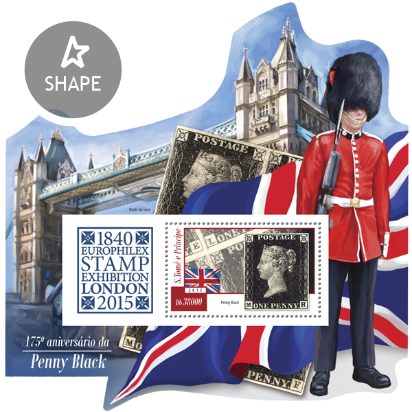 175th anniversary of Penny Black. Europhilex Stamp Exhibition, London 2015 - Issue of Sao Tome and Principe postage stamps