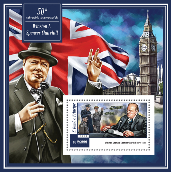 50th memorial anniversary of Winston Churchill - Issue of Sao Tome and Principe postage stamps