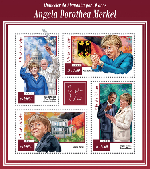 Angela Dorothea Merkel, 10 years the Chancellor of Germany - Issue of Sao Tome and Principe postage stamps
