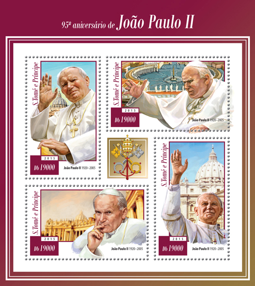 95th anniversary of John Paul II - Issue of Sao Tome and Principe postage stamps