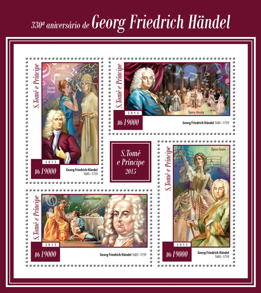 330th anniversary of George Frideric Handel - Issue of Sao Tome and Principe postage stamps
