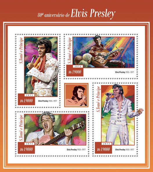 80th anniversary of Elvis Presley - Issue of Sao Tome and Principe postage stamps