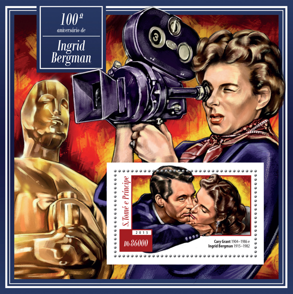 100th anniversary of Ingrid Bergman - Issue of Sao Tome and Principe postage stamps