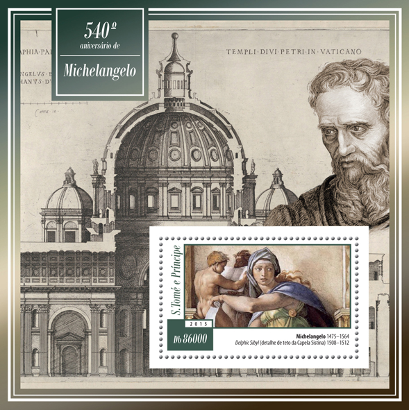 540th anniversary of Michelangelo - Issue of Sao Tome and Principe postage stamps