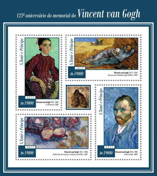 125th memorial anniversary of Theo van Gogh - Issue of Sao Tome and Principe postage stamps