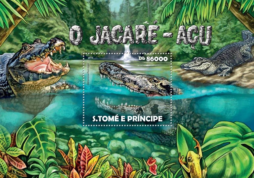 Black Caiman - Issue of Sao Tome and Principe postage stamps