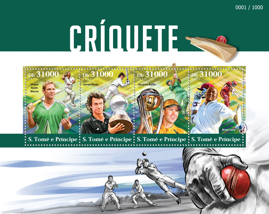 Cricket - Issue of Sao Tome and Principe postage stamps