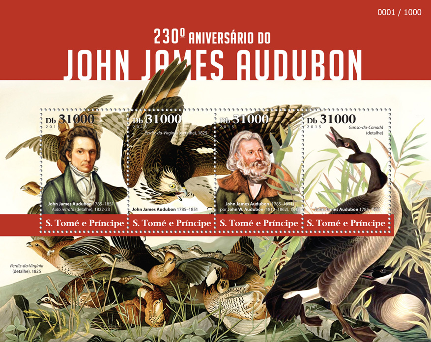 John James Audubon - Issue of Sao Tome and Principe postage stamps