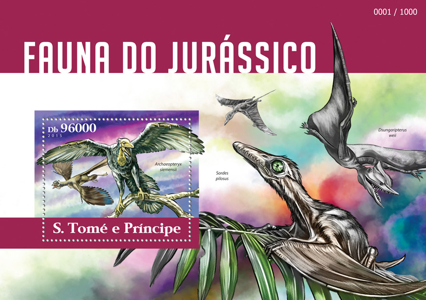 Jurassic fauna - Issue of Sao Tome and Principe postage stamps