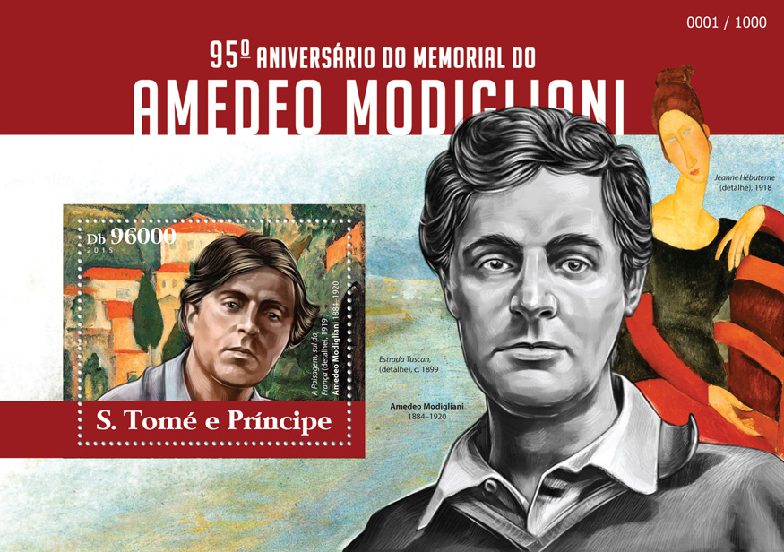 Amedeo Modigliani - Issue of Sao Tome and Principe postage stamps
