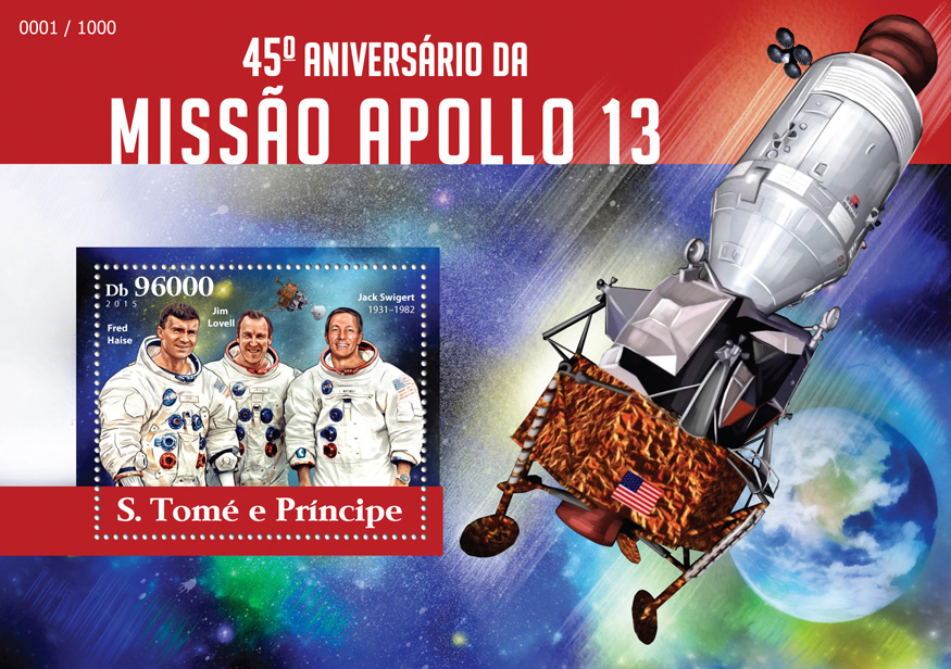 Apollo 13 - Issue of Sao Tome and Principe postage stamps