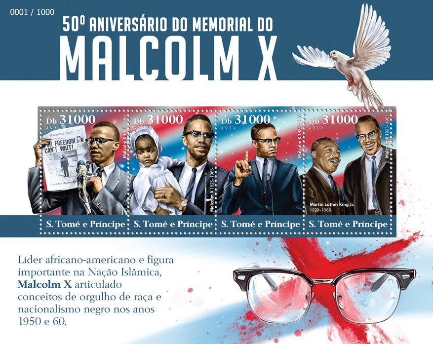 Malcolm X  - Issue of Sao Tome and Principe postage stamps