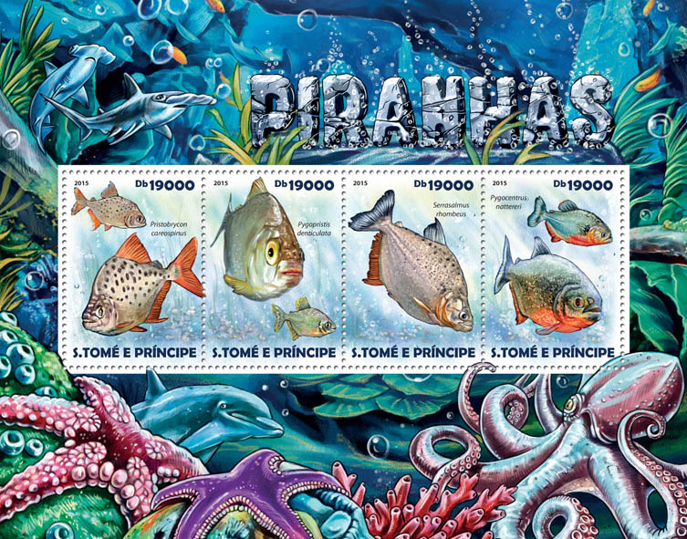Piranhas - Issue of Sao Tome and Principe postage stamps