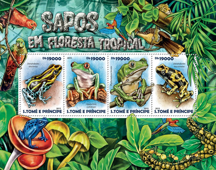Rainforest frogs - Issue of Sao Tome and Principe postage stamps