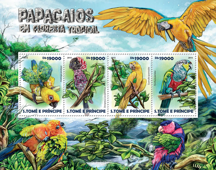 Rainforest parrots - Issue of Sao Tome and Principe postage stamps