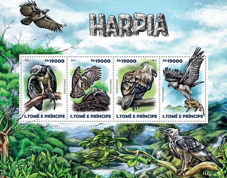 Harpy Eagle - Issue of Sao Tome and Principe postage stamps