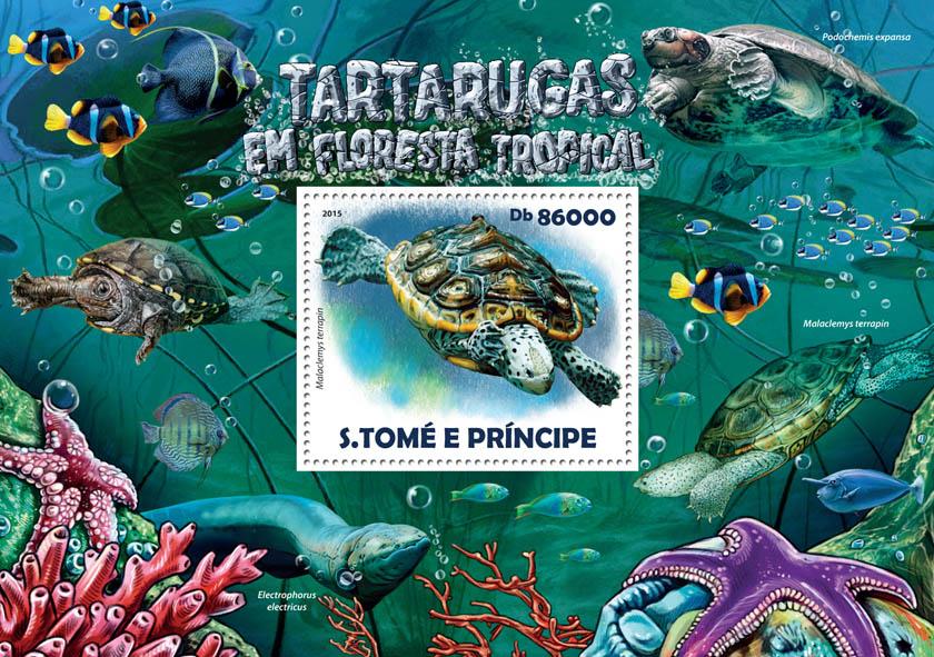 Rainforest turtles - Issue of Sao Tome and Principe postage stamps