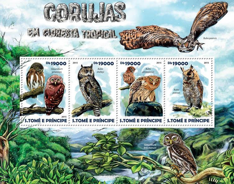 Rainforest owls - Issue of Sao Tome and Principe postage stamps