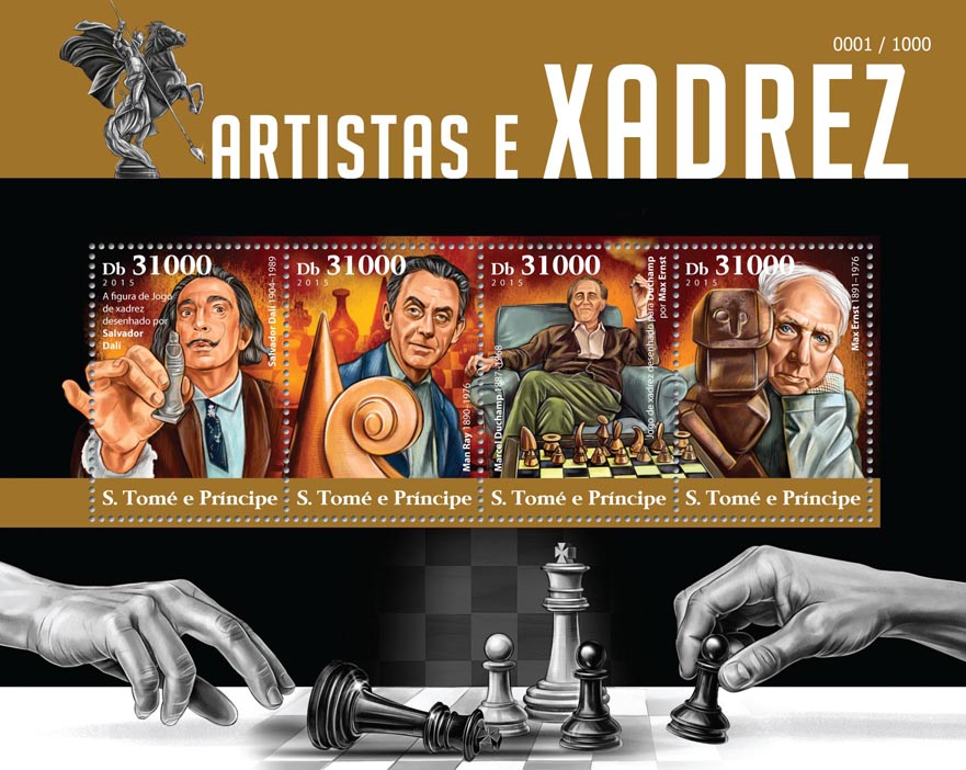 Chess in art - Issue of Sao Tome and Principe postage stamps