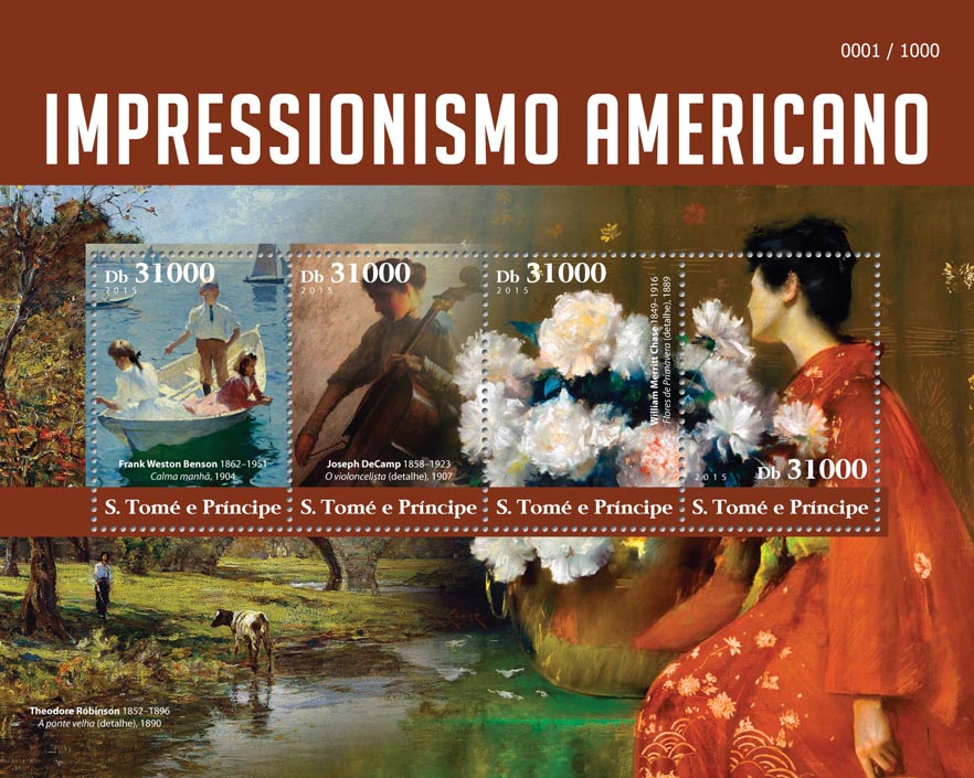 American Impressionism - Issue of Sao Tome and Principe postage stamps