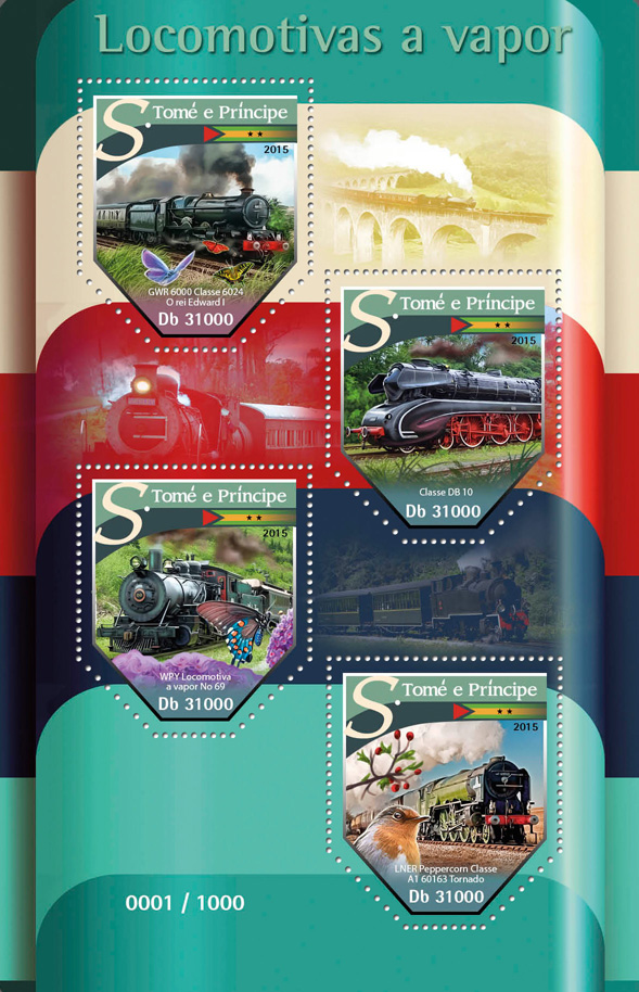 Steam trains - Issue of Sao Tome and Principe postage stamps