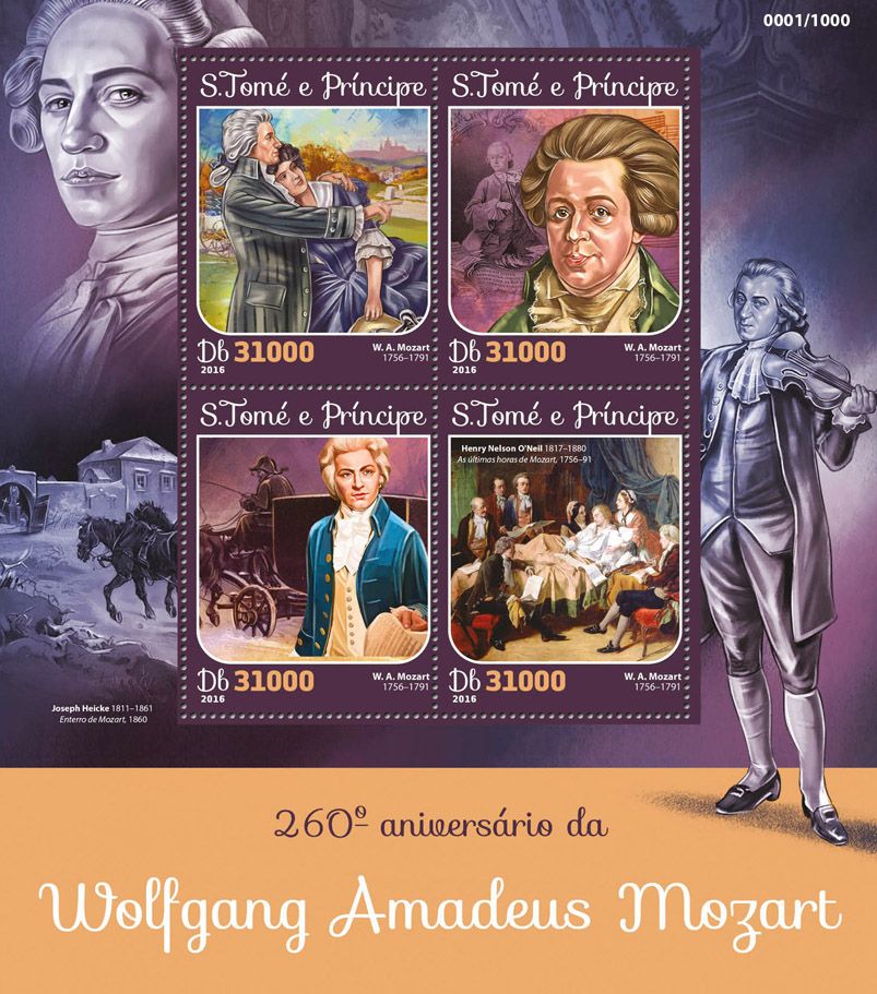 Wolfgang Amadeus Mozart - Issue of Sao Tome and Principe postage stamps