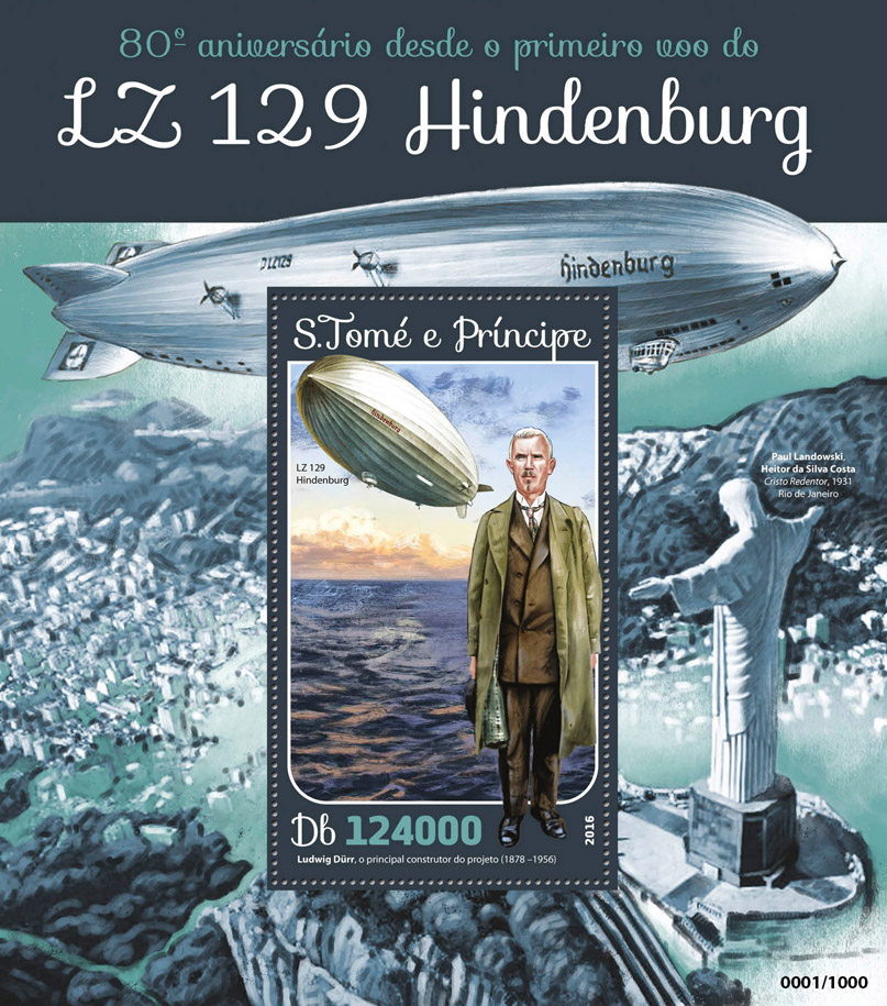 LZ 129 Hindenburg - Issue of Sao Tome and Principe postage stamps