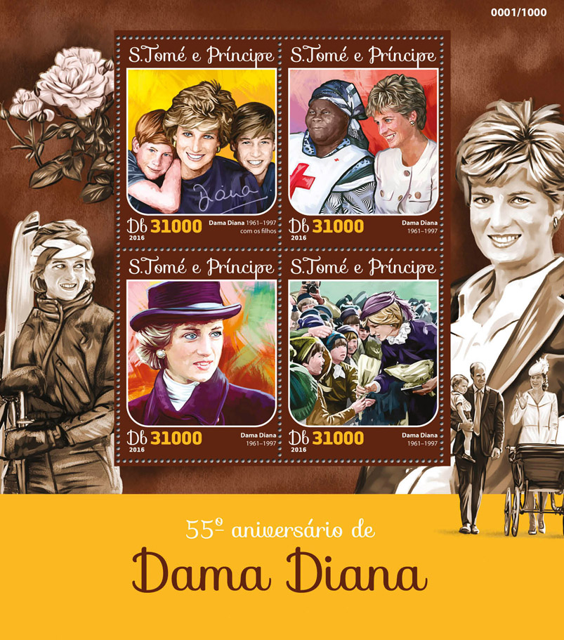 Lady Diana - Issue of Sao Tome and Principe postage stamps