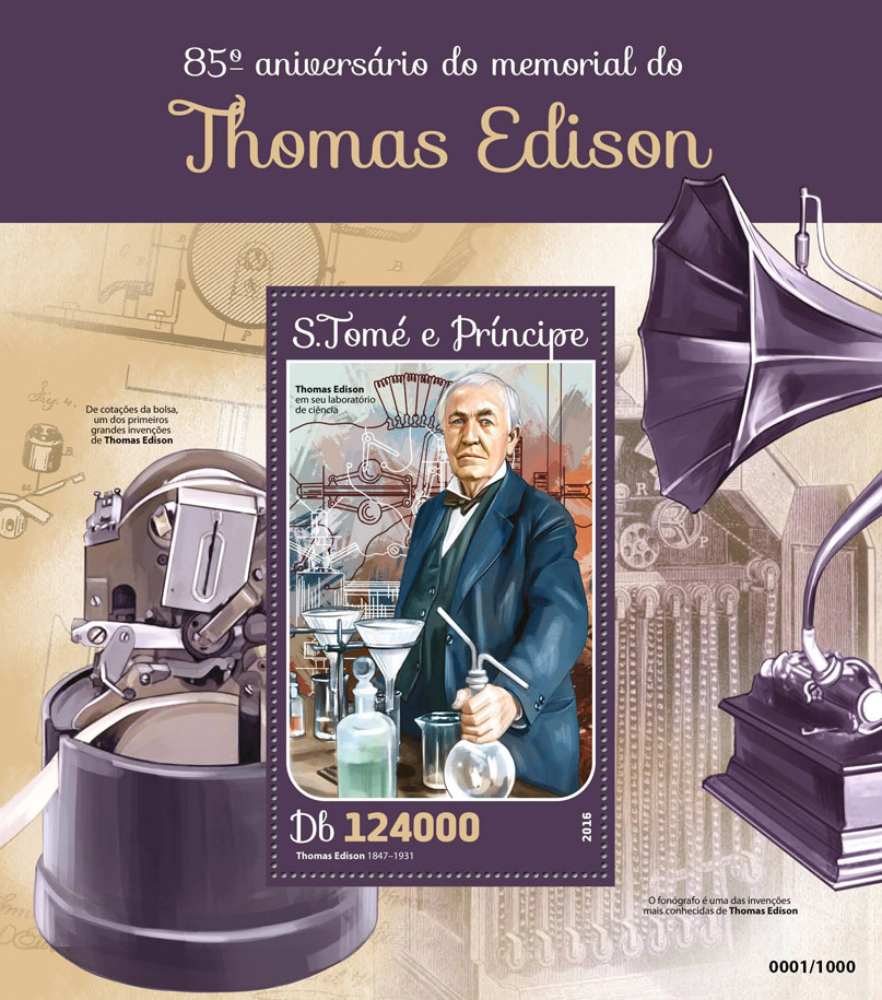 Tom Edison - Issue of Sao Tome and Principe postage stamps