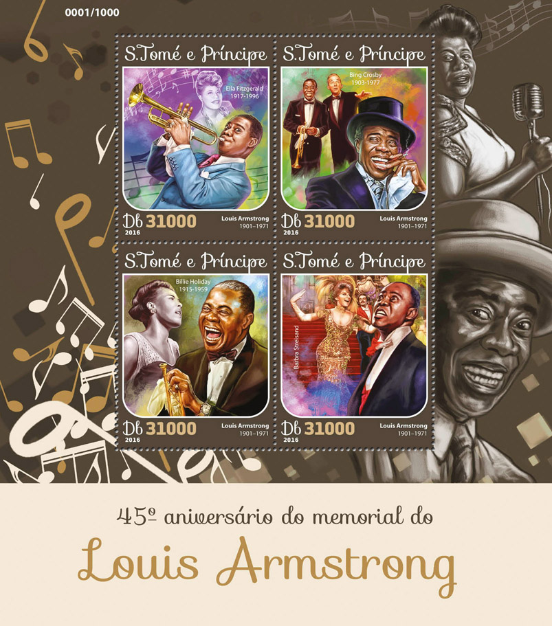 Louis Armstrong - Issue of Sao Tome and Principe postage stamps