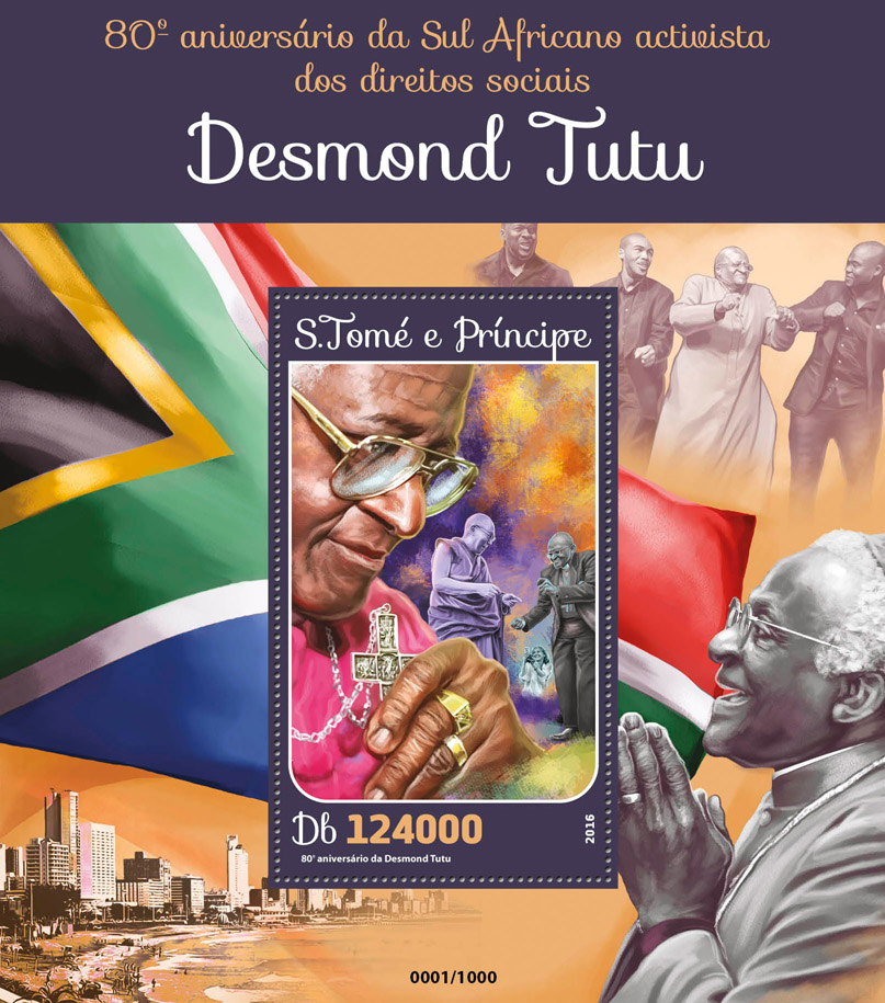 Desmond Tutu - Issue of Sao Tome and Principe postage stamps