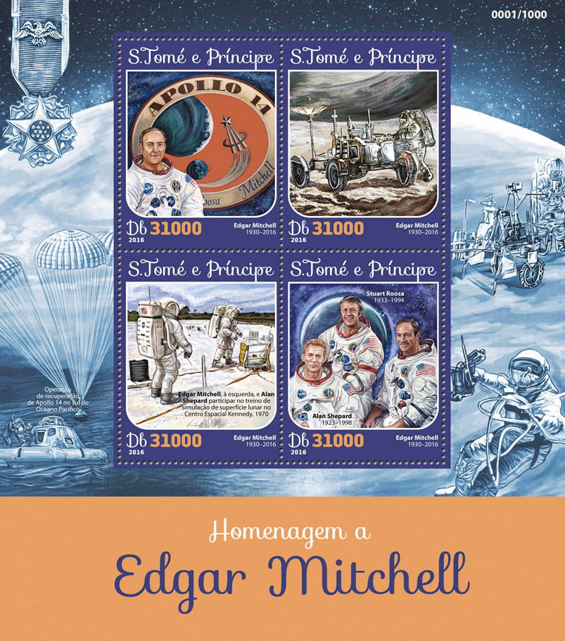 Edgar Mitchell - Issue of Sao Tome and Principe postage stamps
