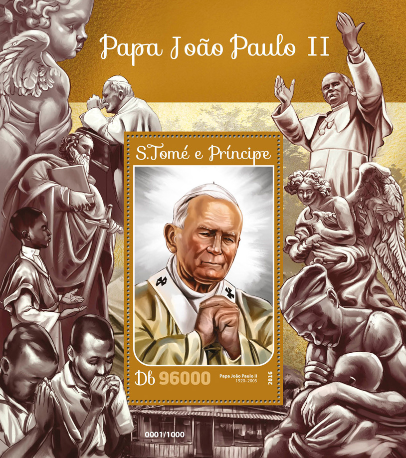Pope John Paul II - Issue of Sao Tome and Principe postage stamps