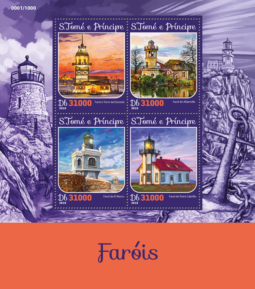Lighthouses - Issue of Sao Tome and Principe postage stamps